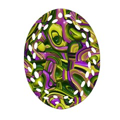 Art Deco Yellow Green Oval Filigree Ornament (2 Side)