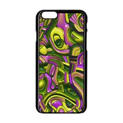 Art Deco Yellow Green Apple Iphone 6/6s Black Enamel Case