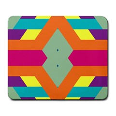 Colorful rhombus and stripes Large Mousepad