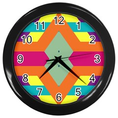Colorful rhombus and stripes Wall Clock (Black)
