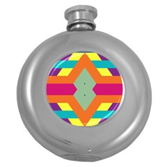 Colorful rhombus and stripes Hip Flask (5 oz)
