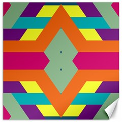 Colorful rhombus and stripes Canvas 20  x 20