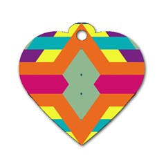 Colorful rhombus and stripes Dog Tag Heart (Two Sides)