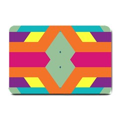 Colorful rhombus and stripes Small Doormat