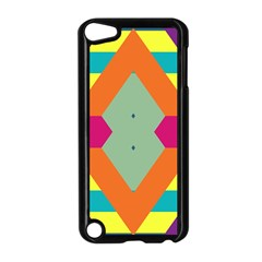 Colorful rhombus and stripes Apple iPod Touch 5 Case (Black)