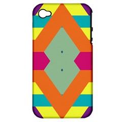 Colorful rhombus and stripes Apple iPhone 4/4S Hardshell Case (PC+Silicone)