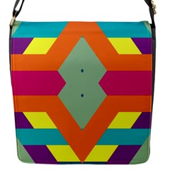 Colorful rhombus and stripes Flap Closure Messenger Bag (S)