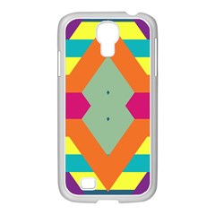 Colorful rhombus and stripes Samsung GALAXY S4 I9500/ I9505 Case (White)