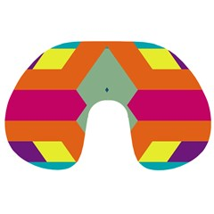 Colorful Rhombus And Stripes Travel Neck Pillow