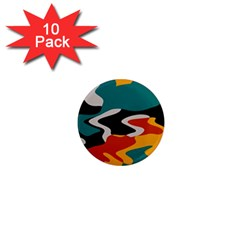 Misc shapes in retro colors 1  Mini Magnet (10 pack)