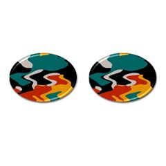 Misc shapes in retro colors Cufflinks (Oval)