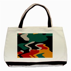 Misc Shapes In Retro Colors Basic Tote Bag (two Sides)