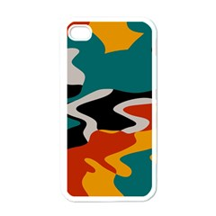 Misc shapes in retro colors Apple iPhone 4 Case (White)