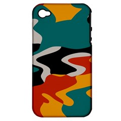 Misc shapes in retro colors Apple iPhone 4/4S Hardshell Case (PC+Silicone)
