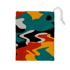 Misc shapes in retro colors Drawstring Pouch