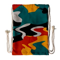 Misc shapes in retro colors Large Drawstring Bag