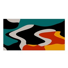 Misc shapes in retro colors Satin Shawl