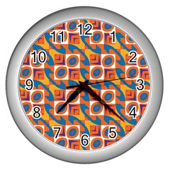 Squares and other shapes pattern Wall Clock (Silver)