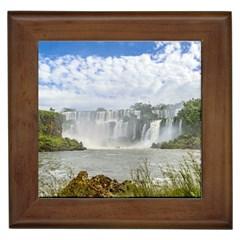 Waterfalls Landscape At Iguazu Park Framed Tiles