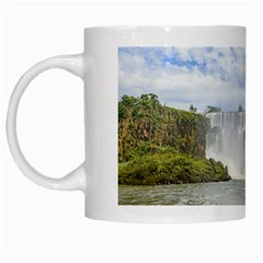 Waterfalls Landscape At Iguazu Park White Mugs