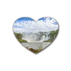 Waterfalls Landscape At Iguazu Park Heart Coaster (4 pack)