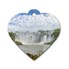 Waterfalls Landscape At Iguazu Park Dog Tag Heart (Two Sides)