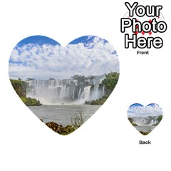 Waterfalls Landscape At Iguazu Park Multi Purpose Cards (heart)