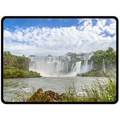 Waterfalls Landscape At Iguazu Park Fleece Blanket (Large)
