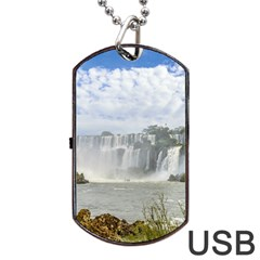 Waterfalls Landscape At Iguazu Park Dog Tag Usb Flash (one Side)