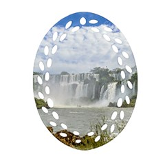 Waterfalls Landscape At Iguazu Park Ornament (Oval Filigree)