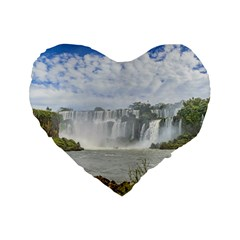 Waterfalls Landscape At Iguazu Park Standard 16  Premium Heart Shape Cushions