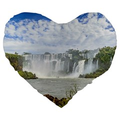 Waterfalls Landscape At Iguazu Park Large 19  Premium Heart Shape Cushions