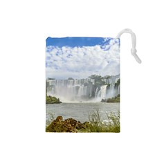 Waterfalls Landscape At Iguazu Park Drawstring Pouches (Small)