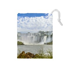 Waterfalls Landscape At Iguazu Park Drawstring Pouches (medium)