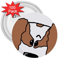 cavalier king charles spaniel Peeping  3  Buttons (100 pack)