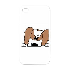 cavalier king charles spaniel Peeping  Apple iPhone 4 Case (White)