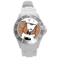 cavalier king charles spaniel Peeping  Round Plastic Sport Watch (L)