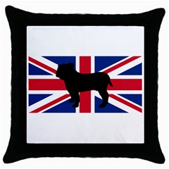 Bulldog Silhouette on flag Throw Pillow Cases (Black)