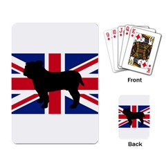 Bulldog Silhouette on flag Playing Card
