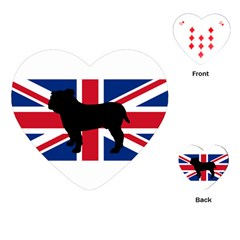 Bulldog Silhouette on flag Playing Cards (Heart)