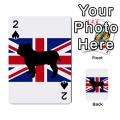 Bulldog Silhouette on flag Playing Cards 54 Designs