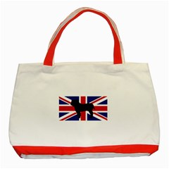 Bulldog Silhouette on flag Classic Tote Bag (Red)