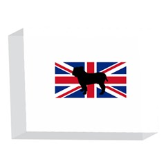 Bulldog Silhouette on flag 5 x 7  Acrylic Photo Blocks