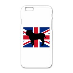 Bulldog Silhouette on flag Apple iPhone 6/6S White Enamel Case
