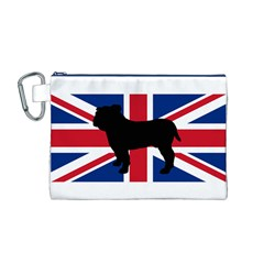 Bulldog Silhouette on flag Canvas Cosmetic Bag (M)