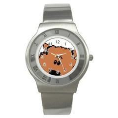 Peeping Pomeranian Stainless Steel Watches