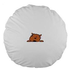 Peeping Pomeranian Large 18  Premium Round Cushions