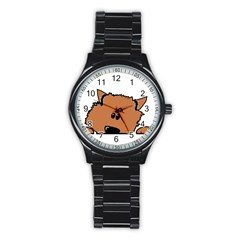Peeping Pomeranian Stainless Steel Round Watches