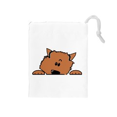 Peeping Pomeranian Drawstring Pouches (Medium)