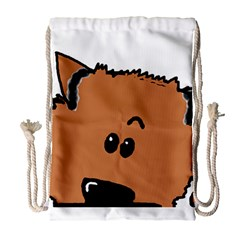 Peeping Pomeranian Drawstring Bag (Large)